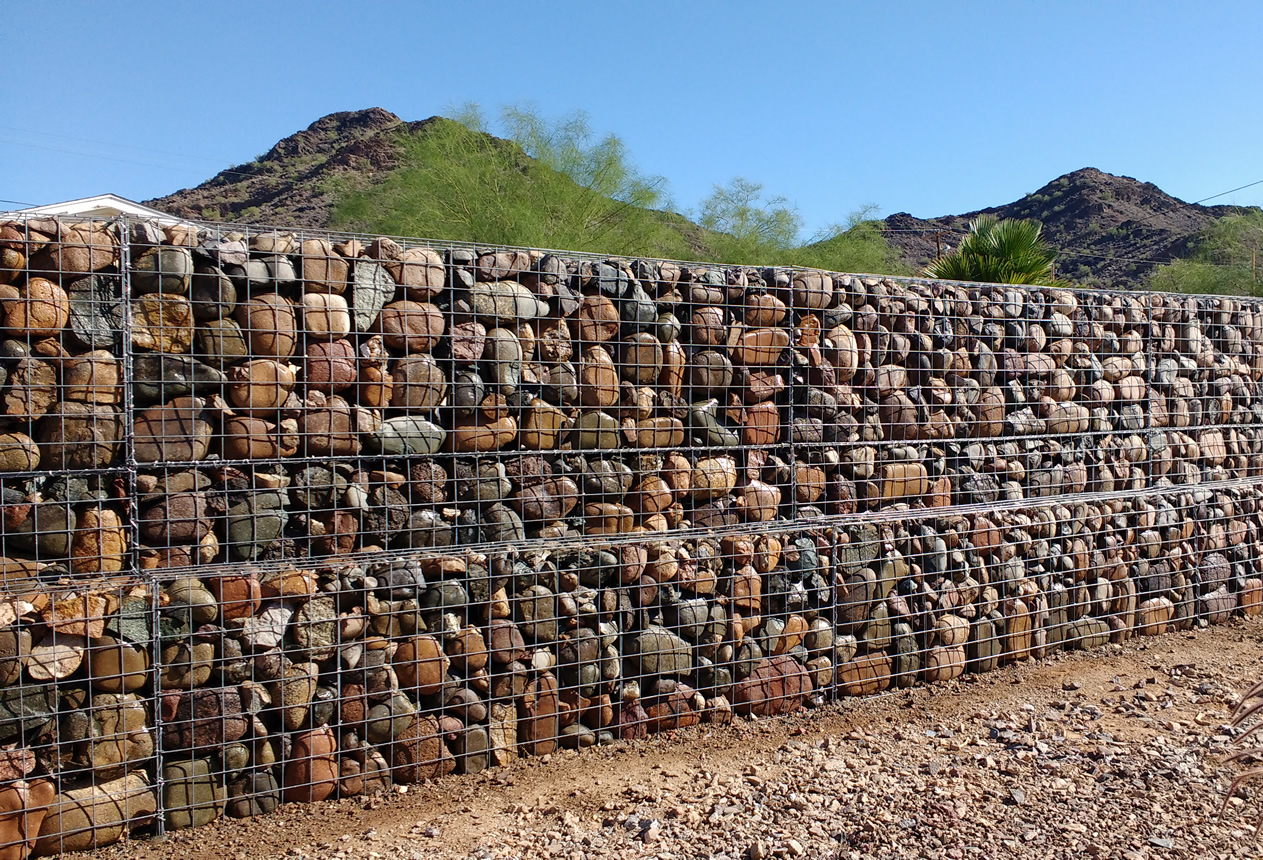 gabion baskets and gabion wall design we create beautiful landscape features in phoenix az. Black Bedroom Furniture Sets. Home Design Ideas
